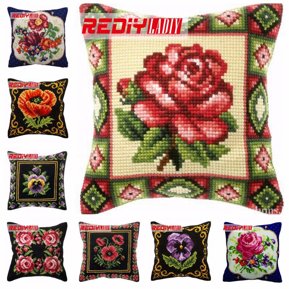 LADIY Cross Stitch Cushion Cover Floral Yarn for Embroidery Cushions Home Decor Cross-Stitch Kits Flowers Decorative Pillow CaseLADIY Cross Stitch Cushion Cover Floral Yarn for Embroidery Cushions Home Decor Cross-Stitch Kits Flowers Decorative Pillow Case