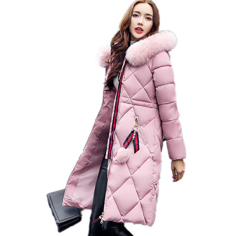 Fashion Winter Jacket Thick Cotton Medium-long Warm Coat Large Size Women Fur Collar Hood Padded Parka Casual Parka Mujer TT2834 2017 winter classic fashion fur hoodie coat jacket women thick warm long sleeve cotton coats student medium long loose overcoat