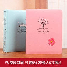 4D 6 inch 200 Sheets Large Boxed Photo Album Vintage Family Photo Type of High-grade Leather Family Growing Baby Album