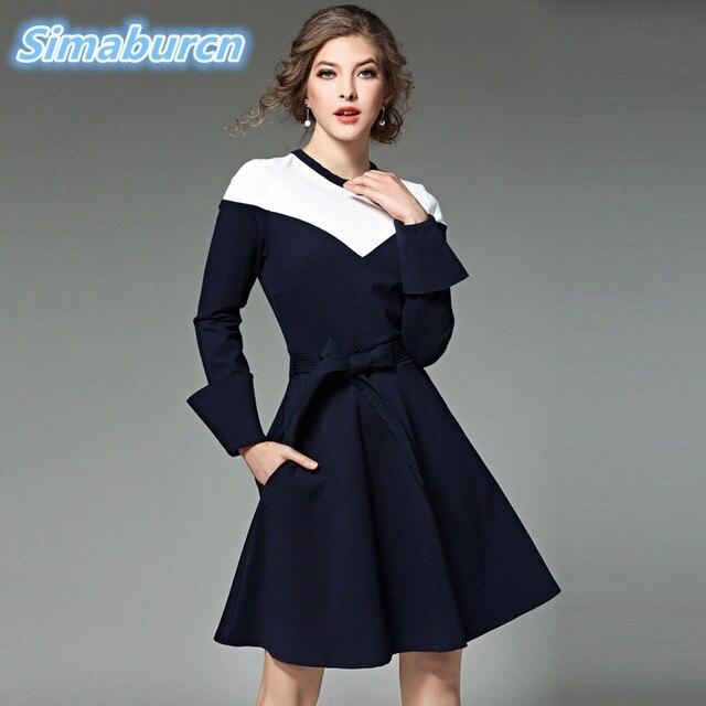 2018 Fashion European Brand Spring Mini Women Dresses Long Sleeve O-Neck Patchwork Dresses Ladies Autumn Female A-Line Clothing