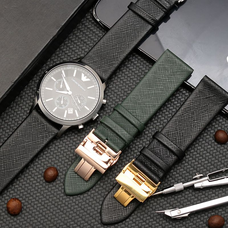 Applicable For Armani Strap Leather Men AR1674 1722 1755 0382 Lizard Pattern Watch Chain Soft Leather 20 22mm Watch Band