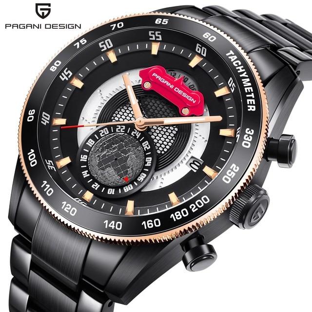 Luxury Brand PAGANI DESIGN Chronograph Sport Watches Men Reloj Hombre Full Stainless Steel Quartz Watch Clocks Relogio Masculino