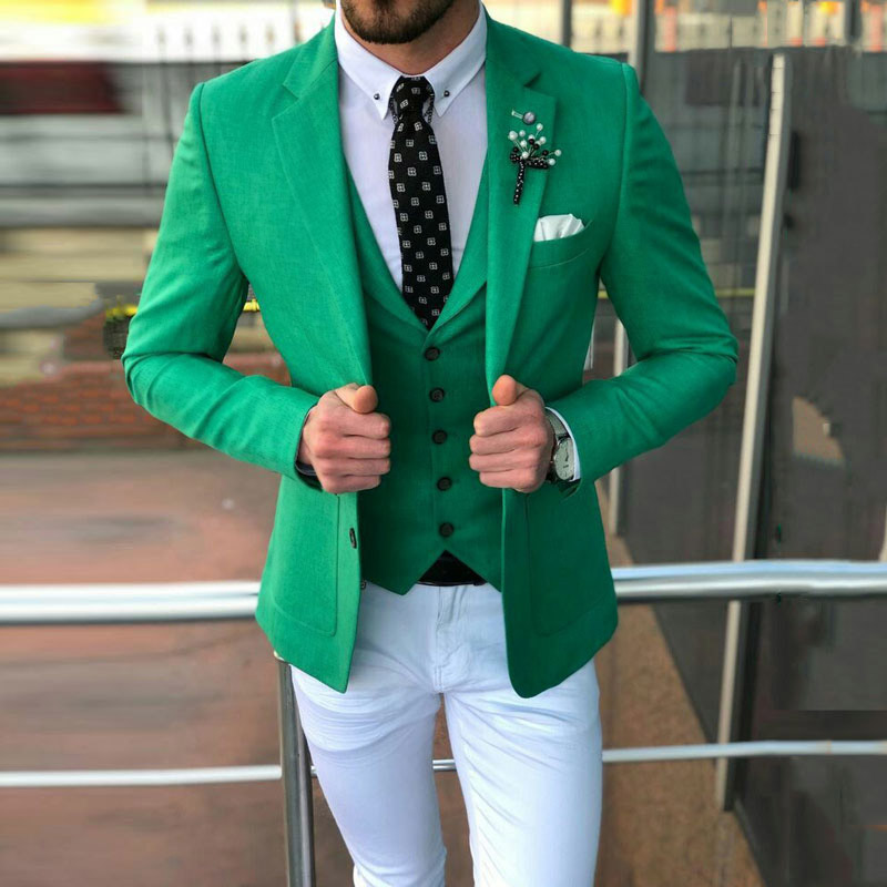 Fashion Casual Green Men Suit White Pants Groom Tuxedos Groomsmen Best Man Blazer Mens Wedding Suits (Jacket+Pants+vest) 2019