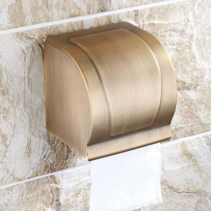 Antique brass wall mounted waterproof paper box 100%solid brass bathroom toilet tissue paper  holder square style black of toilet paper all copper toilet tissue box antique toilet paper basket american top hand cartons