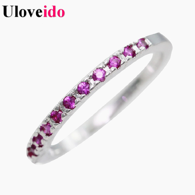 Fashion Women Rings Fianit Female Silver Color Wedding Engagement Ring Red Purple Crystal Stone Jewelry Wholesale Uloveido J029