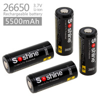 4pc 3.7V 5500mAh 26650 Li ion Rechargeable Battery with Protected PCB for LED Flashlights Headlamps