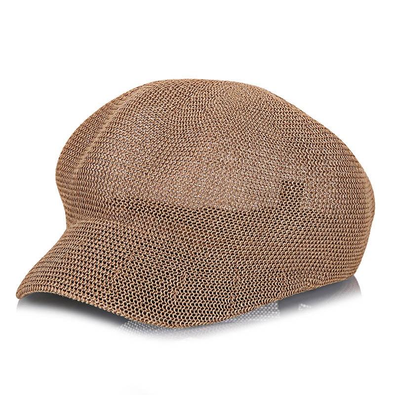 Women's Berets Apparel Accessories Pcfddr Mesh Octagonal Hat Female Mesh Beret Straw Paper Hollow Summer Leisure Sunshade Net Cap.