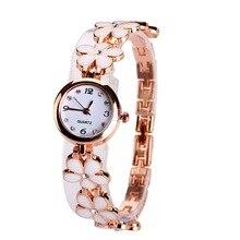 New Design Rose Gold Women s Watches Luxury Diamond Fashion Flower Bracelet Quartz Watches Clock Women