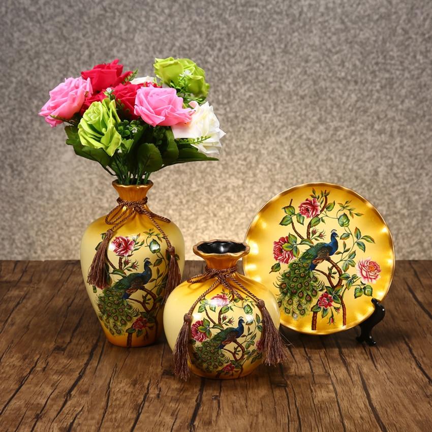 3pcs / Set Jingdezhen Ceramic Vase Vintage Chinese Style Animal Vase Fine Smooth Surface Home Decoration Furnishing Articles