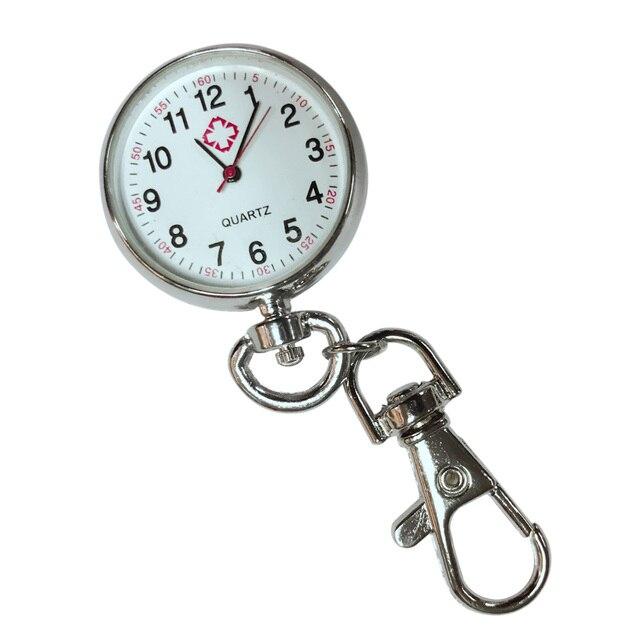 Casual Jewelry Stainless Steel Quartz Pocket Watch Pendant with Keychain E2shopp