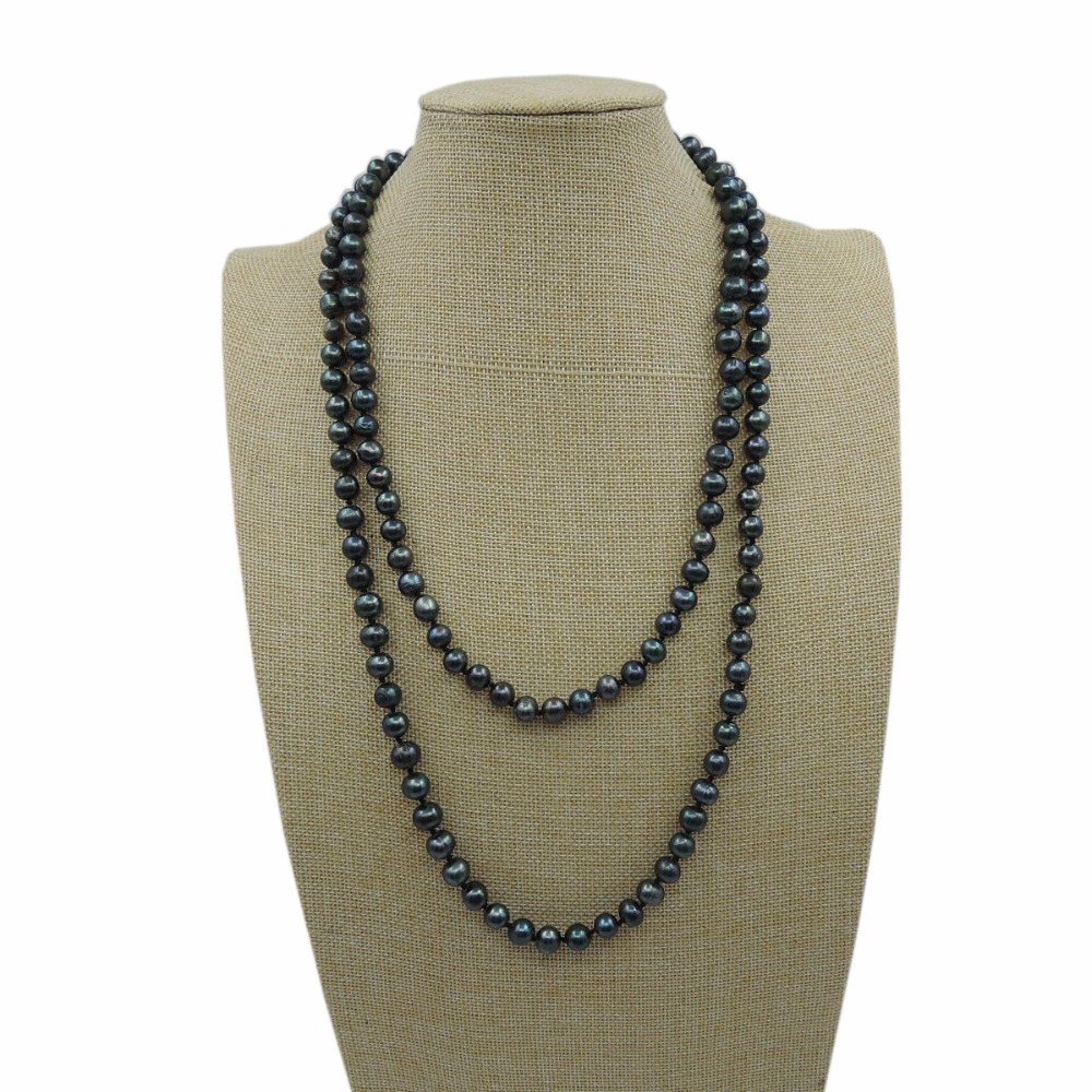 100%NATURE FRESHWATER AAA PEARL LONG NECKLACE-120 - ファッションジュエリー - 写真 2