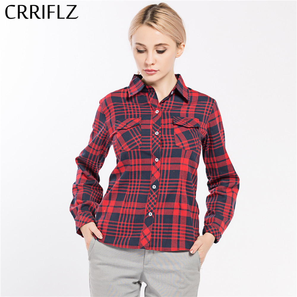 Causal Women Plaid Shirts Long Sleeve Blouse Shirt Plus Size 5XL Cotton Plaid Women Tops blusas CRRIFLZ Spring Autumn Collection(China)