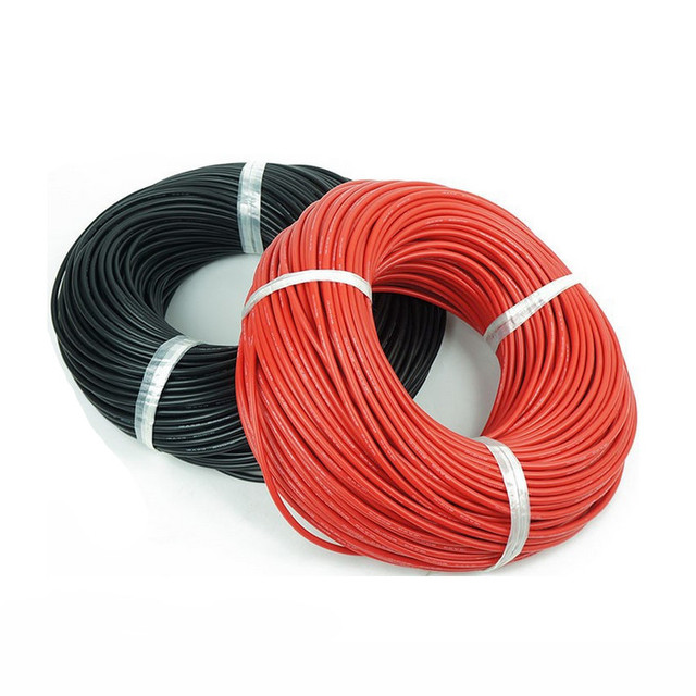 1meter Red+1meter Black Silicon Wire 12AWG 14AWG 16AWG 22AWG 24AWG Heatproof Soft Silicone Silica Gel Wire Cable