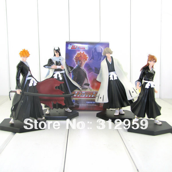 """4pcs 2rd Anime Cosplay Bleach Character Figure Toys with Base pvc action collection toys tall 5.5"""""""