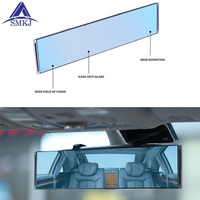 Universal Fit Rearview Mirror Wide Anti Glare Blue Tint Curve Convex Clip On Wide Angle Interior