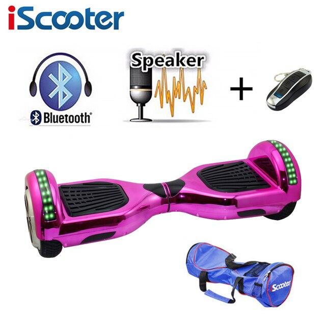 Iscooter Новый 6.5 дюймов hoverboard Bluetooth и LED giroskuter 2 колеса самобалансированый гироскутер ходовая доска два колеса oxboard