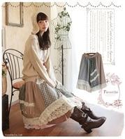 Japanese Mori Girl Vintage Print Floral Plaid Knitted Retro Saia Longa Harajuku Cotton Linen Lace Ruffle Crochet Embrodery Skirt