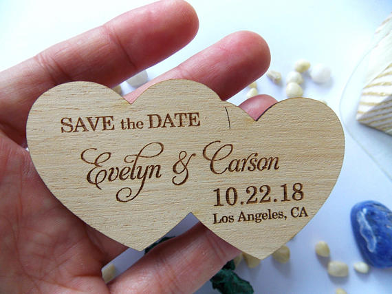 Double heart shape wedding fridge magnets,Rustic Custom ...
