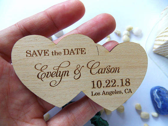 Double Heart Shape Wedding Fridge Magnets Rustic Custom Wood Decoration Personalized Favors
