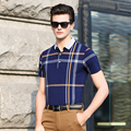 2016 New summer fashion classic contrast color stripes men's short sleeve polo shirt