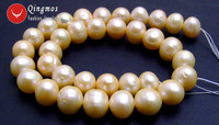 Qingmos 12 13mm Pink Pearl Loose Beads for Jewelry Making with Natural Round Freshwater Pearl Beads Strands 14 los179 Free Ship