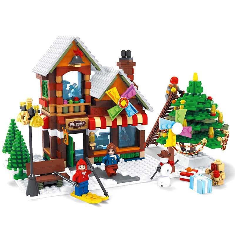 812pcs Winter Village Toy Shop Creator CHRISTMAS TREE Building Bricks Blocks Toys 25611 Brinquedo Compatible With lego цена