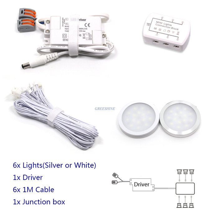 D58XH8MM 6pcs/set Dimmable 3W LED Cabinet Light +Driver +Cable +Connector 200-240LM/led CRI>80 Home Decoration LED With Dimmer