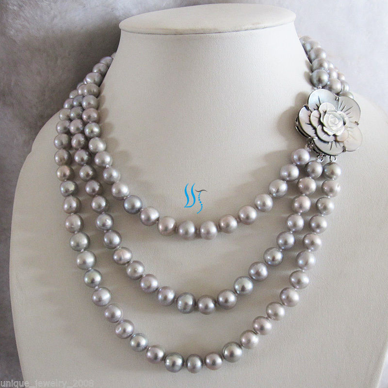 17 21 8 9mm Gray Freshwater Pearl Necklace Shell Clasp Jewelry