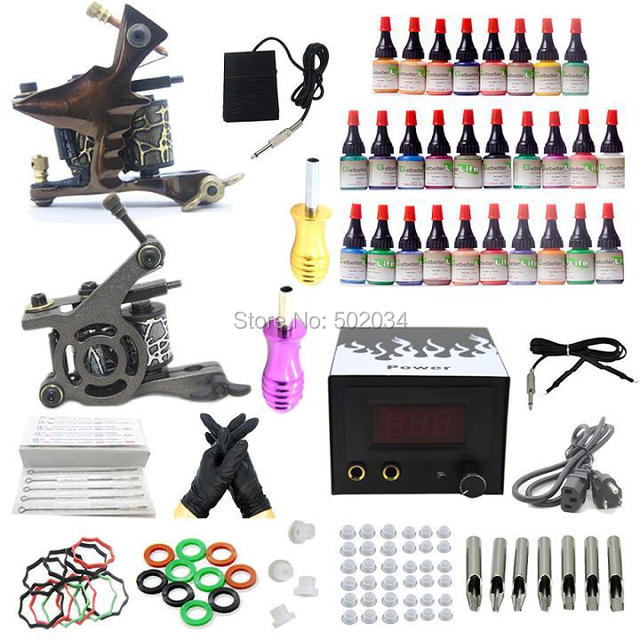 USA Dispatch Starter Tattoo Kit 28 Color inks 2 Tattoo Machine Guns Shader Liner LCD Power Needles Tips Grips Set  Supplies