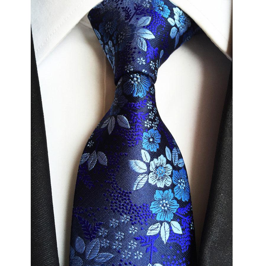 852d35b3c0a20 Factory 7 Styles Navy Blue Floral Flowers Jacquard Classic Men Neck Ties  100% Silk Wedding Party Gravatas Groom Necktie tie