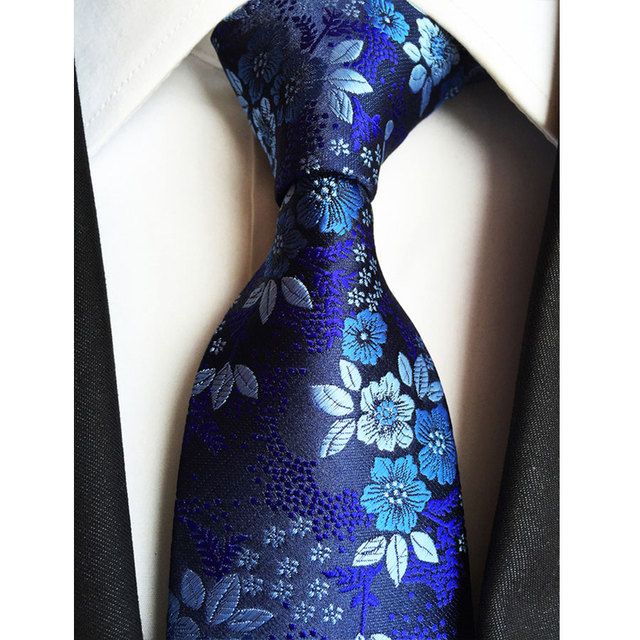 b79ceca4b009 Factory 7 Styles Navy Blue Floral Flowers Jacquard Classic Men Neck Ties  100% Silk Wedding Party Gravatas Groom Necktie tie
