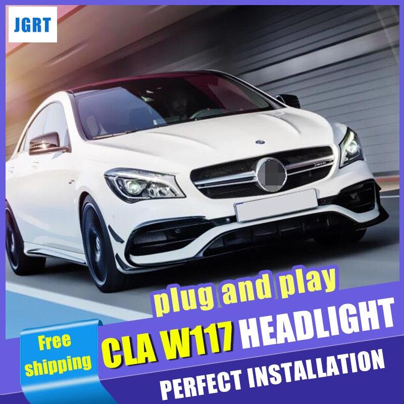 Lampe halogène mise à niveau Tous Les led tête lampes Pour Mercedes-Benz CLA W117 phares Double Faisceau Bi-lentille led drl 2014-2019
