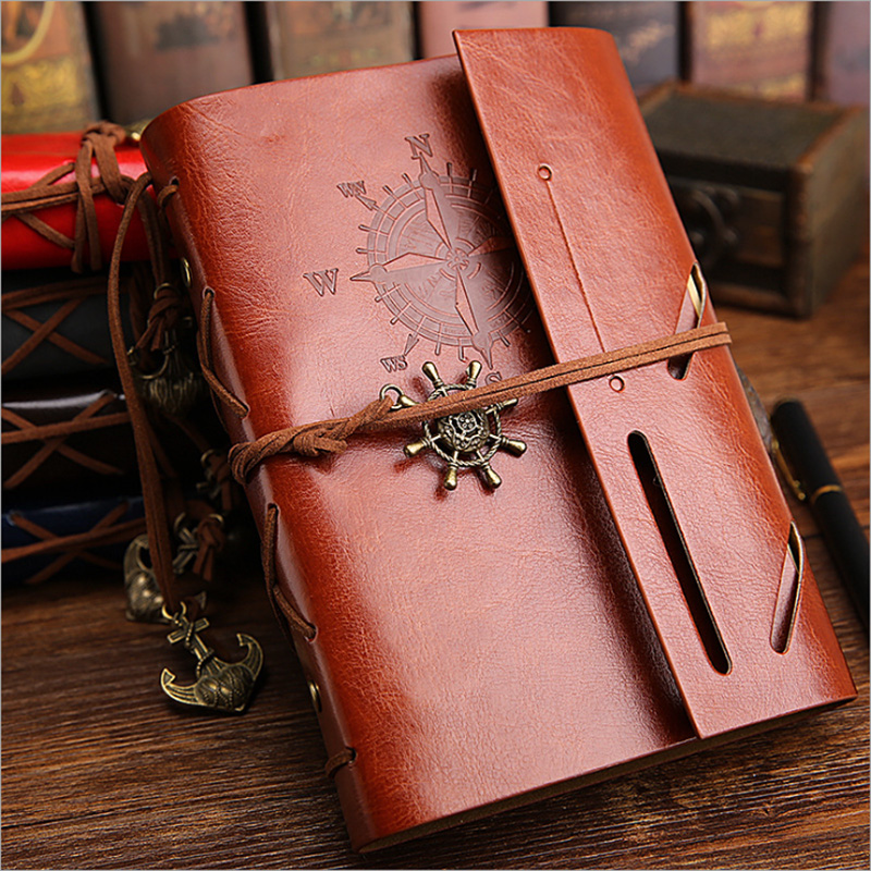 Vintage Pirate Anchors PU Leather Note Book Replaceable Stationery Gift  Spiral Notebook Diary Notepad Replaceable inner core 1
