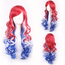 Cheap Harajuku Lolita Red White Blue Ombre Synthetic Hair Long Wavy Cosplay Costume Wig Colorful Christmas Party Wigs For Women long fluffy wavy oblique bang synthetic lolita wig