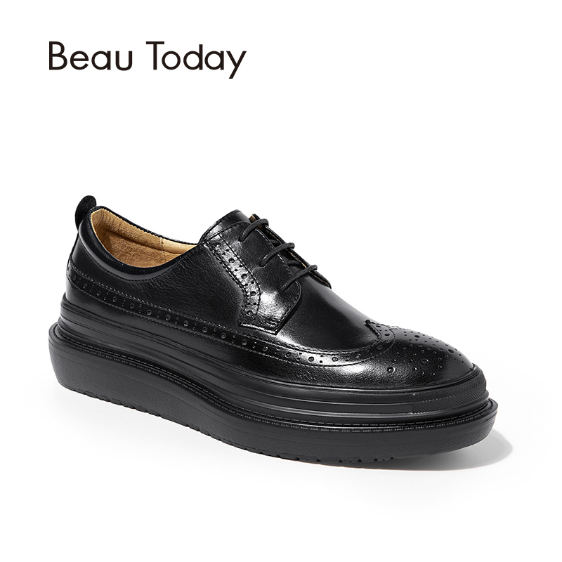 BeauToday Brogue Shoes Women Flat Platform Top Quality Genuine Cow Leather Round Toe Lace-Up Lady Shoes Handmade 21403 top quality england style retro mens cow genuine leather brogue shoes male casual shoes lace up round toe breathable wing tip