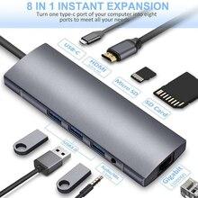9in 1 USB C Laptop Docking Station USB 3.0 HDMI RJ45 Gigabit SD Audio Fealushon for MacBook Samsung IPhone Huawei Type C statio