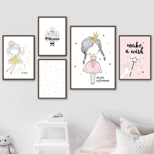 Cartoon Cute Girl Crown Quote Wall Art Canvas Painting Nurser Nordic Posters And Prints Wall Pictures Girl Baby Kids Room Decor baby girl room decor nordic cartoon pictures for kids room posters and prints nursery simple quote cat wall art canvas painting