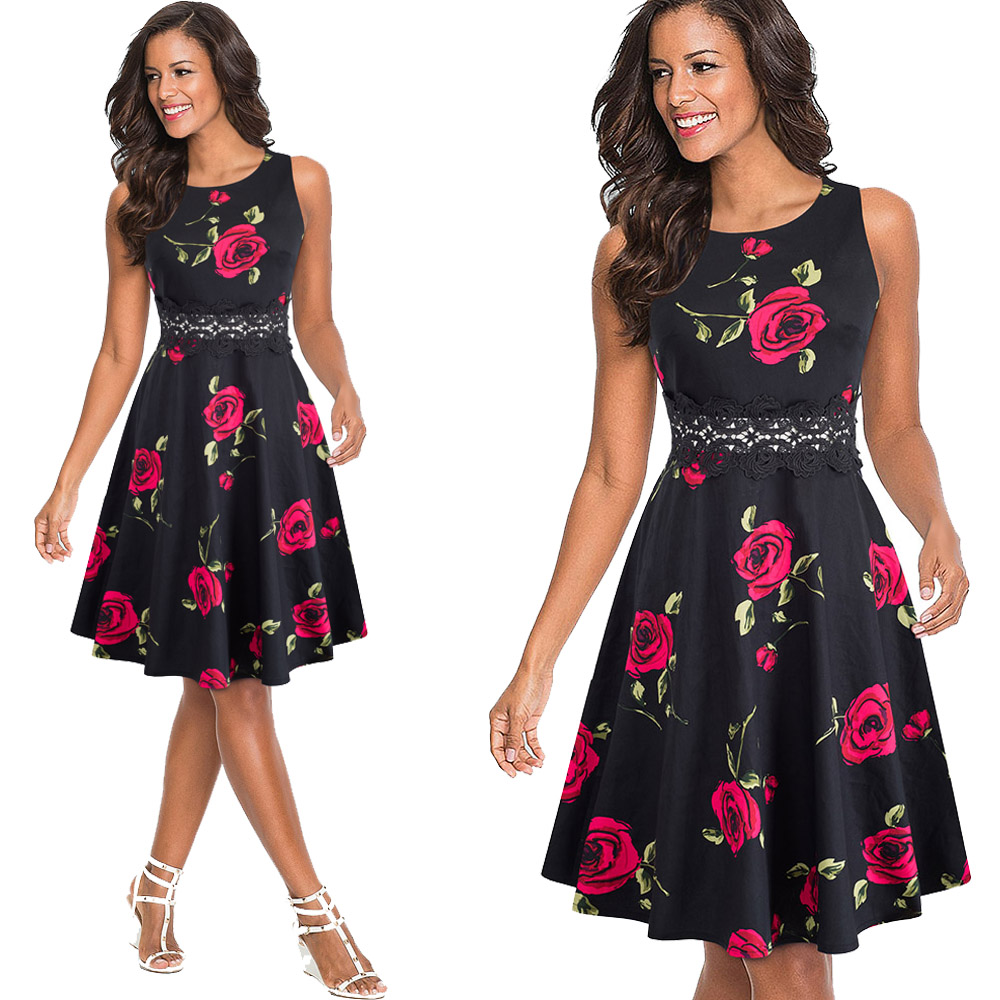 Nice-forever Vintage Elegant Embroidery Floral Lace Patchwork vestidos A-Line Pinup Business Women Party Flare Swing Dress A079 136