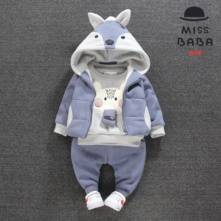 Children's Clothing Sets Winter 100%cotton baby Boy's 2piece suit set sport suit sets tracksuits hoody jackets+trousers