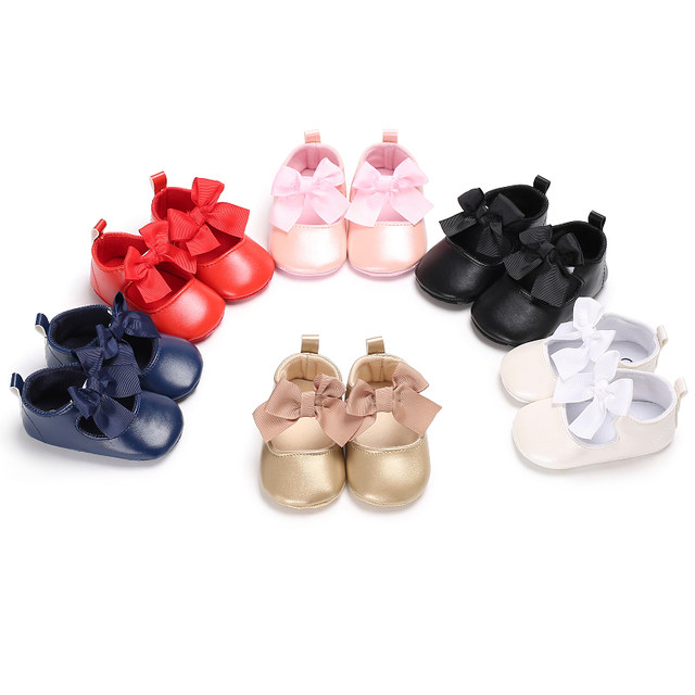 1ff5ce5971a3e Newborn Infant Toddler Baby Girls Mary Jane Shoes Princess T-Strap First  Walkers Big Bow PU Leather Kids Dress Prewalkers Shoe