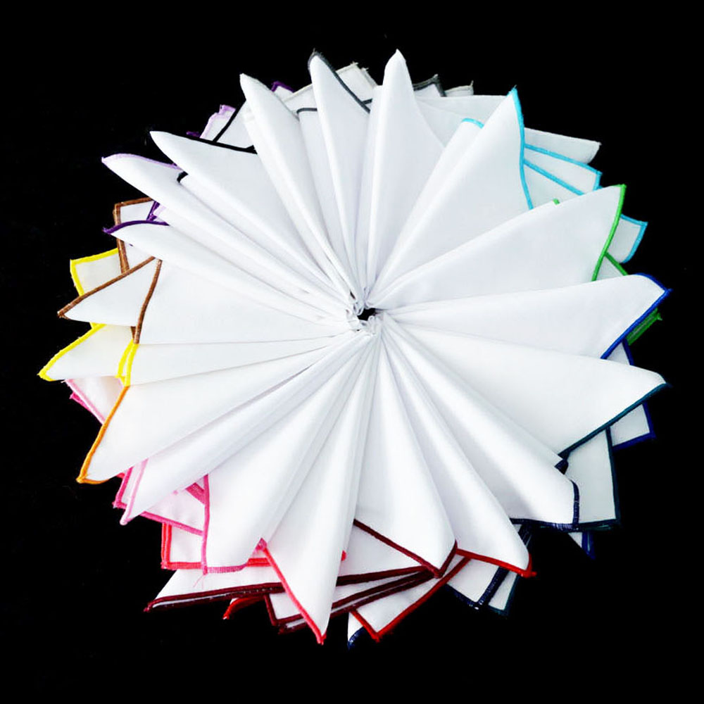 Men High Quality White Colorful Rolled  Hanky Pocket Square Handkerchief NEW BWTYX0503