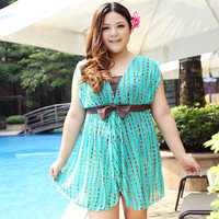 Big Size 4XL 7XL Women One Piece Swimsuit Skirt Vintage Swimwear Dress Push Up 2016 Sexy