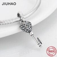 925 Sterling Zilver DIY klassieke Sleutel hart vorm fijne Hangers kralen Fit Originele Pandora Bedelarmband Sieraden maken