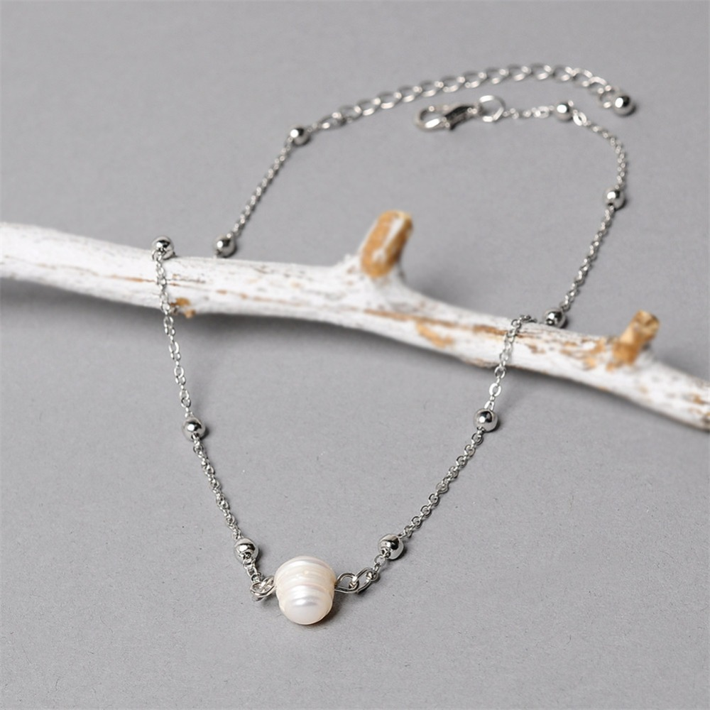 Women Choker Necklace Freshwater Pearl Necklace Gold Color Chain Clavicle Chain Necklaces 2018 Fashion Jewelry For Girl  (2)