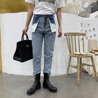 Male Fashion Streetwear Hip Hop Reverse Wear Harem Trousers Men Retro High Waist Casual Denim Pants Jeans for Men