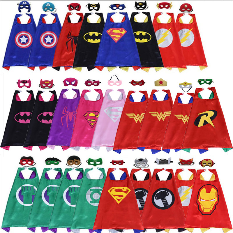Kids Dress up Costumes Boys and Girls Superhero Capes with Masks Double Side Cloak for Children Halloween Cosplay Birthday Party
