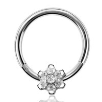50pcs 316 Stainless Steel Flower Nose Septum Piercing Zircon Flower Seamless Clicker Ring