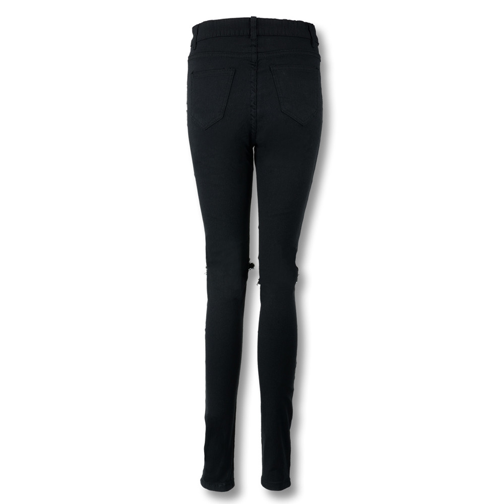 Women Cool Ripped Knee Cut Leggings Jeans High Waist Skinny Long Hole Jeans Pants Slim Pencil Plus Size Trousers Black Yl-new #6