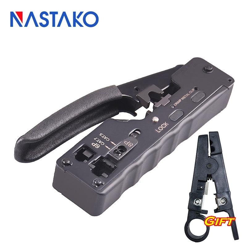 NASTAKO Network Telecom Crimping Tool for RJ45 RJ11 RJ12 Cat7 Cat6/6a Cat5/5e Modular Plugs Combo Metal Clip Plier Crimper 24 pcs rj45 modular network pcb jack 56 8p w led 4 ports