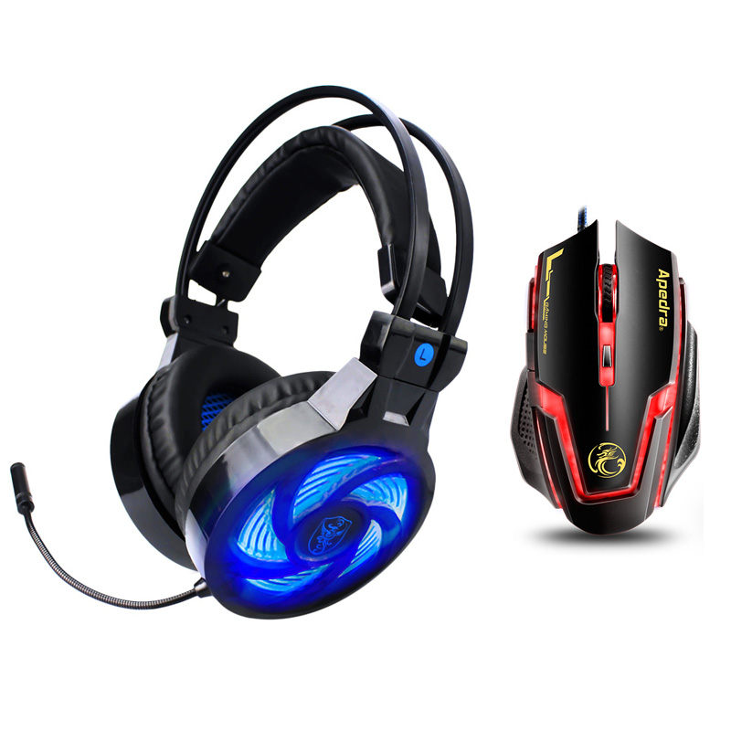 Soyto PS855 3.5mm Wired Earphone Gaming Headset PC Gamer Stereo Headphone with Microphone Led for Computer PS4 Xbox One Phone